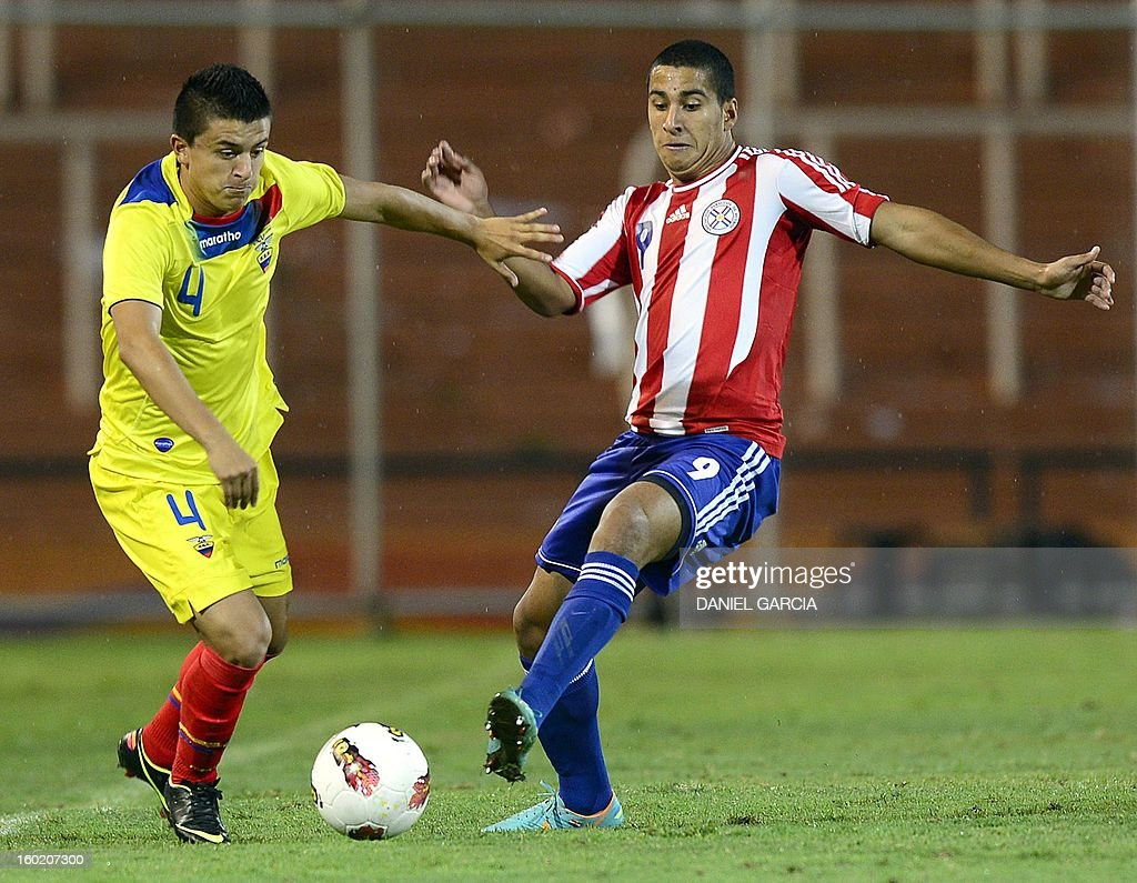 Paraguay's forward Cecilio Dominguez (R) vies for the ball with Ecuador's defender Marcos Lopez during their South American U-20 final round football match at Malvinas Argentinas stadium in Mendoza, Argentina, on January 27, 2013. Four South American teams will qualify for the FIFA U-20 World Cup Turkey 2013.