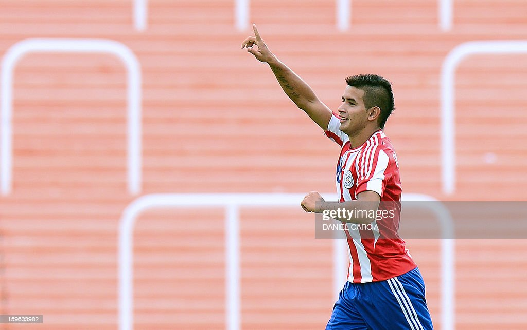 Paraguay's forward Derlis Gonzalez celebrates after scoring against Bolivia during their South American U-20 Group A qualifier football match at Malvinas Argentinas stadium in Mendoza, Argentina, on January 17, 2013. Four teams will qualify for the FIFA U-20 World Cup Turkey 2013.
