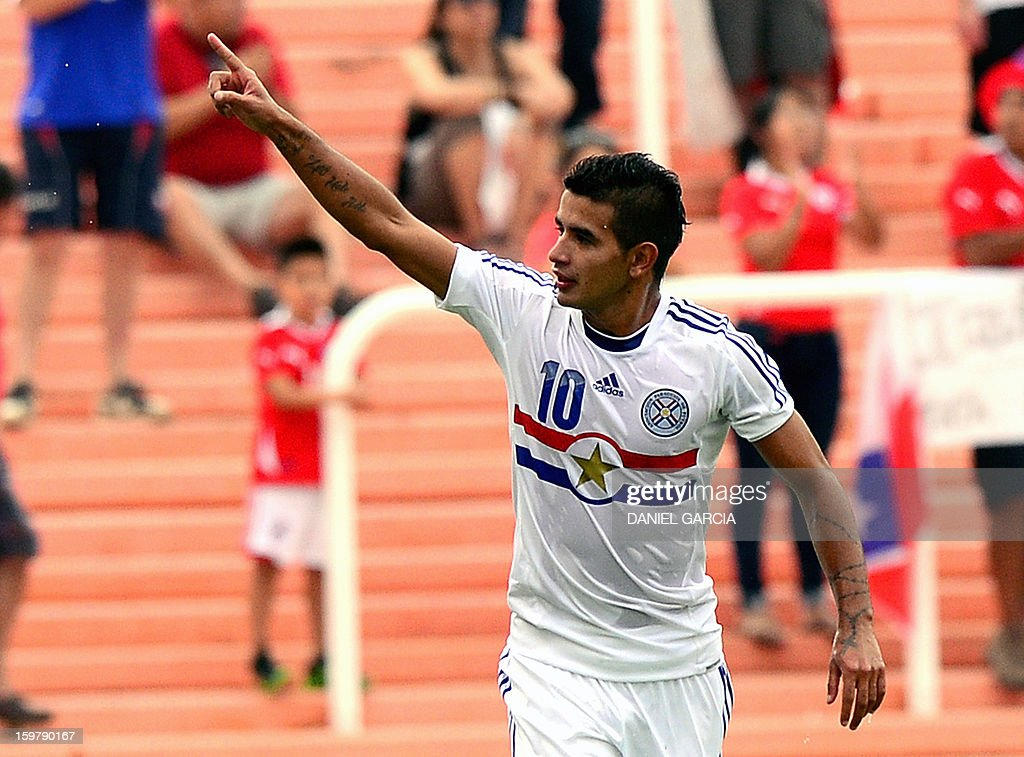 Paraguay's forward Derlis Gonzalez celebrates after scoring against Chile during their South American U-20 final round football match at Malvinas sArgentinas stadium in Mendoza, Argentina, on January 20, 2013. Four teams will qualify for the FIFA U-20 World Cup Turkey 2013.