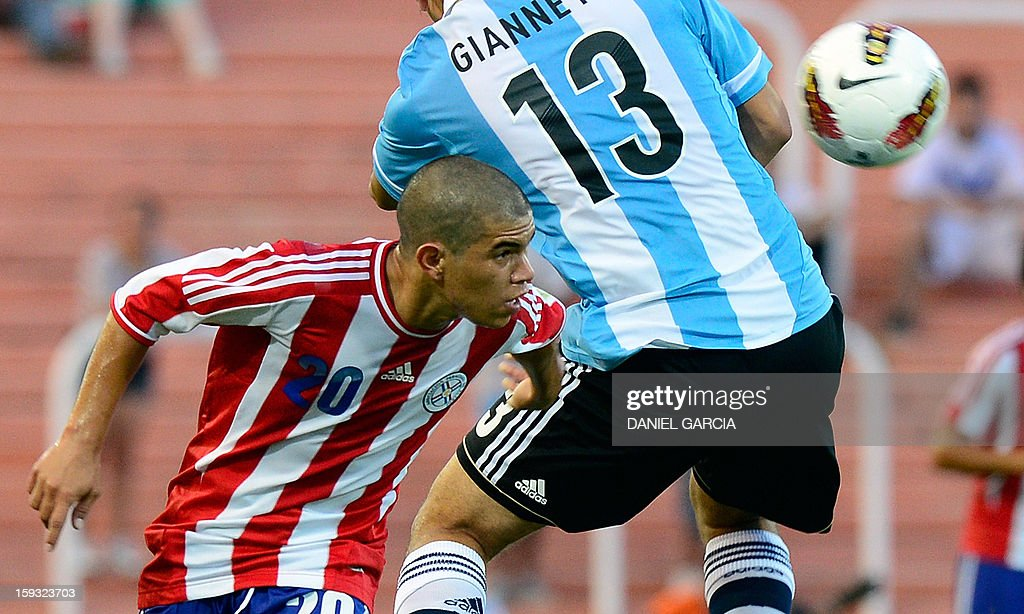 Paraguay's forward Juan Villamayor (L) heads the ball past Argentina's defender Lautaro Gianetti, during their South American U-20 Championship Group A football match, at Malvinas Argentinas stadium in Mendoza, Argentina, on January 11, 2013. Four South American teams will qualify for the FIFA U-20 World Cup Turkey 2013.