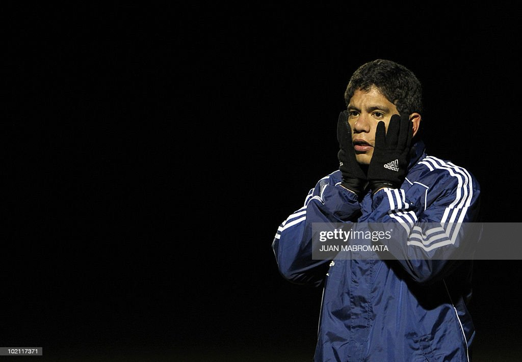 Paraguay's forward Rodolfo Gamarra gestures during a training session at Michaelhouse school in Balgowan on June 15, 2010 a day after their first match against Italy ended 1-1 and ahead their second 2010 World Cup Group F football match against Slovakia on June 20 at Free State stadium in Bloemfonstein.