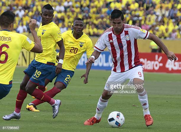 Paraguay's Jorge Benitez drives the ball during the Russia 2018 FIFA World Cup South American Qualifiers' football match against Ecuador in Quito on...