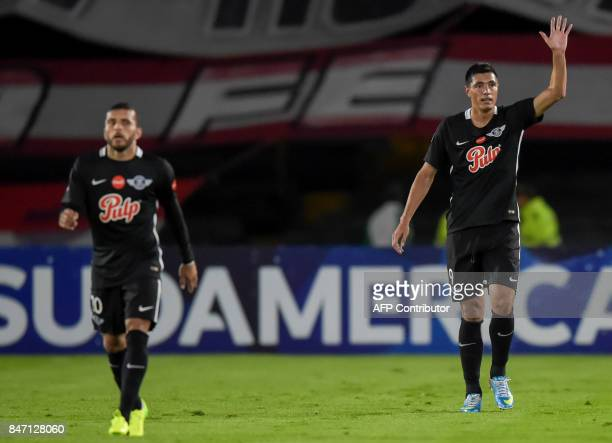 Paraguay's Libertad footballer Oscar Cardozo celebrates after scoring against Colombia's Santa Fe during their Copa Sudamericana football match at El...