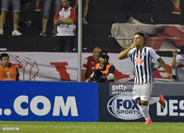 Paraguay's Libertad Jorge Recalde celebrates after scoring against Argentina's Huracan during their Copa Sudamericana 2017 second stage first leg...