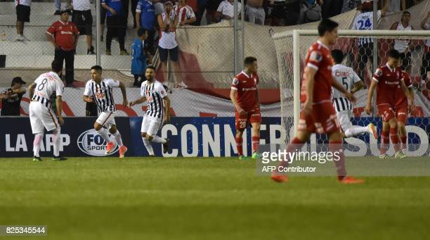 Paraguay's Libertad player Jorge Recalde celebrates after scoring against Argentina's Huracan during their Copa Sudamericana 2017 second stage first...