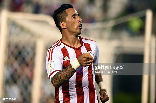 Paraguay's Lucas Barrios celebrates after scoring against Bolivia during their Russia 2018 FIFA World Cup South American Qualifiers football match in...