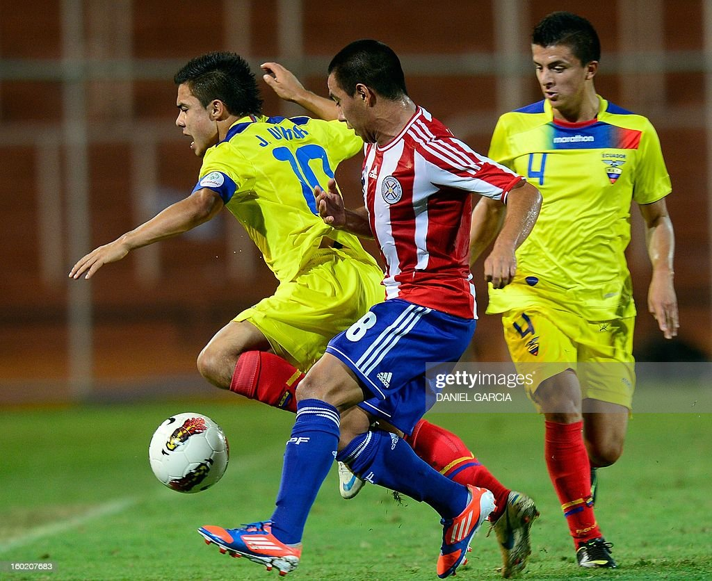 Paraguay's midfielder Angel Cardozo (L) vies for the ball with Ecuador's midfielder Jonny Uchuari and defender Marcos Lopez during their South American U-20 final round football match at Malvinas Argentinas stadium in Mendoza, Argentina, on January 27, 2013. Four South American teams will qualify for the FIFA U-20 World Cup Turkey 2013. AFP PHOTO / DANIEL GARCIA