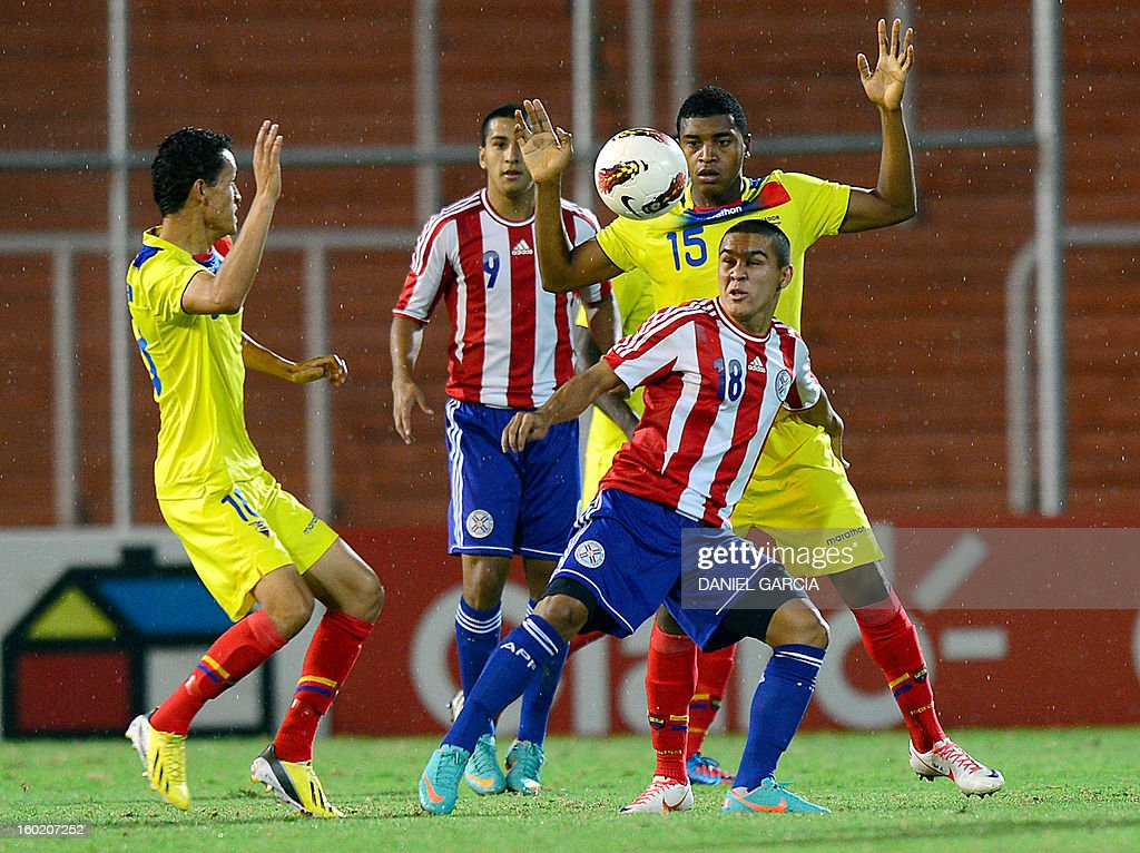 Paraguay's midfielder Jorge Rojas (front) vies for the ball with Ecuador's midfielder Michael Arboleda during their South American U-20 final round football match at Malvinas Argentinas stadium in Mendoza, Argentina, on January 27, 2013. Four South American teams will qualify for the FIFA U-20 World Cup Turkey 2013.