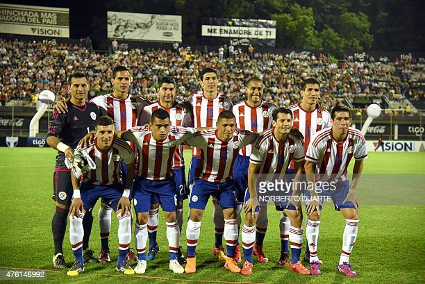Paraguay's national football team members pose for a photo before their friendly match against Honduras at the Manuel Ferreira stadium in Asuncion...