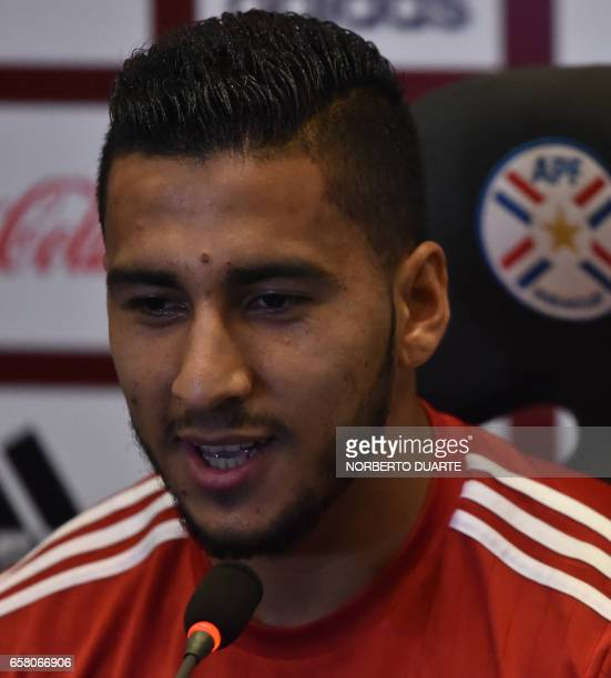 Paraguay's national football team player Cecilio Domiinguez speaks during a press conference at the Complejo Albiroga training centre in Ypane near...