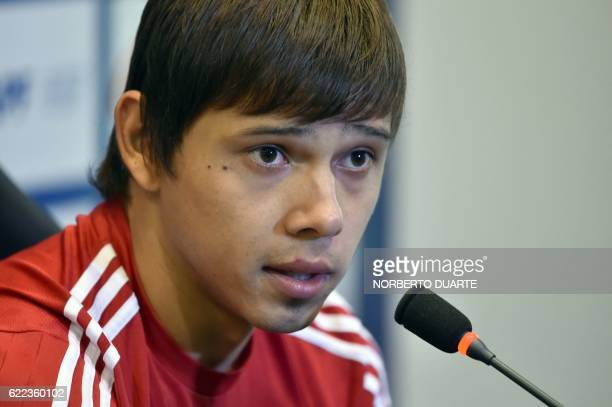 Paraguay's national football team player Oscar Romero speaks during a press conference at the Complejo Albiroga training centre in Ypane near...