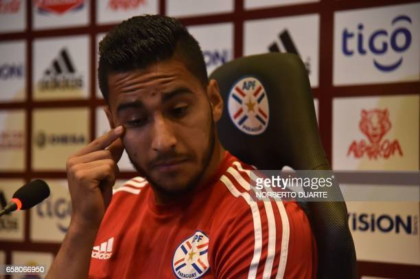 Paraguay's national football team players Cecilio Domiinguez gestures during a press conference at the Complejo Albiroga training centre in Ypane...