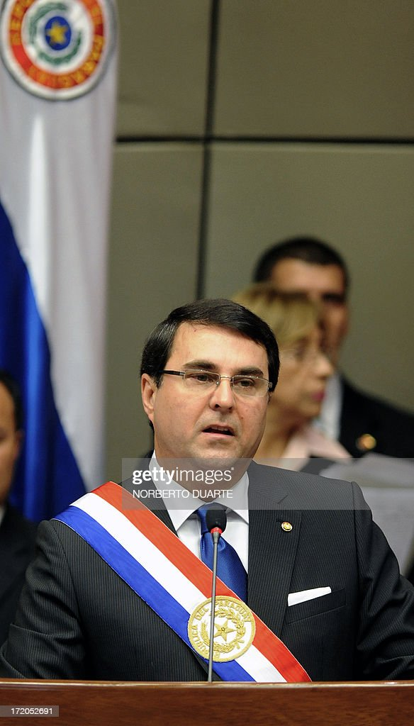 Paraguay's President Federico Franco delivers the annual legislative report in Asuncion on July 1 2013 AFP PHOTO/Norberto DUARTE