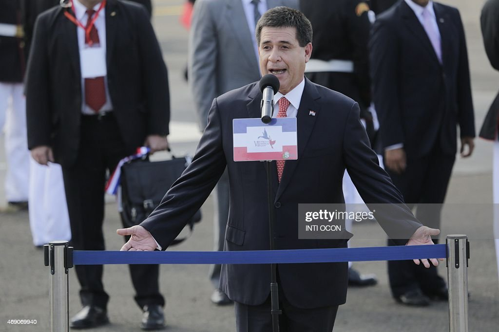 Paraguay's President <a gi-track='captionPersonalityLinkClicked' href=/galleries/search?phrase=Horacio+Cartes&family=editorial&specificpeople=7439046 ng-click='$event.stopPropagation()'>Horacio Cartes</a> delivers a speech upon landing in Panama City on April 9, 2015 to take part in the VII Americas Summit. Regional leaders begin to arrive for a historic Summit of the Americas that will see the US and Cuban presidents sit face to face for the first time in decades.