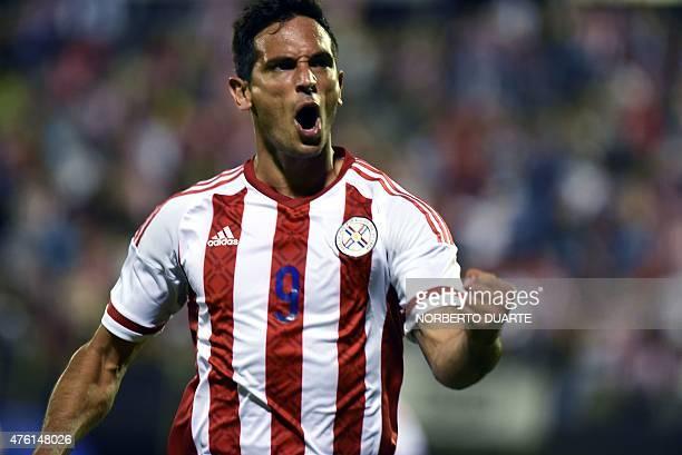 Paraguay's Roque Santa Cruz celebrates his goal against Honduras during a friendly football match at the Manuel Ferreira stadium in AsuncionParaguay...