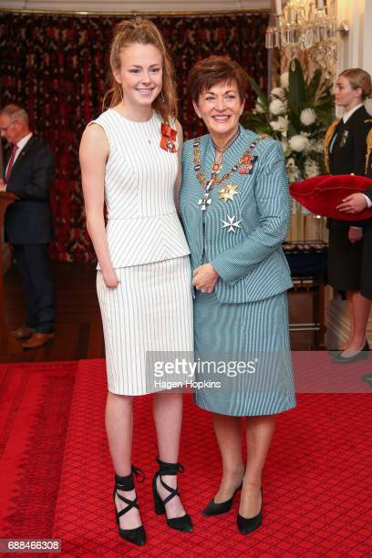Paralympian Anna Grimaldi receives the New Zealand Order of Merit from GovernorGeneral Dame Patsy Reddy for services to athletics at Government House...