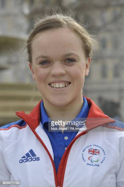 Paralympian double gold medallist Ellie Simmonds at the launch of the 2012 Olympics ticket website in Trafalgar Square London