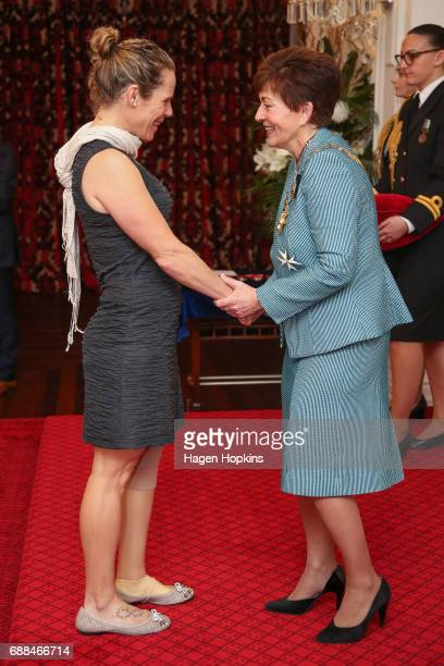 Paralympian Kate Horan receives the New Zealand Order of Merit from GovernorGeneral Dame Patsy Reddy for services to Paralympic sport at Government...