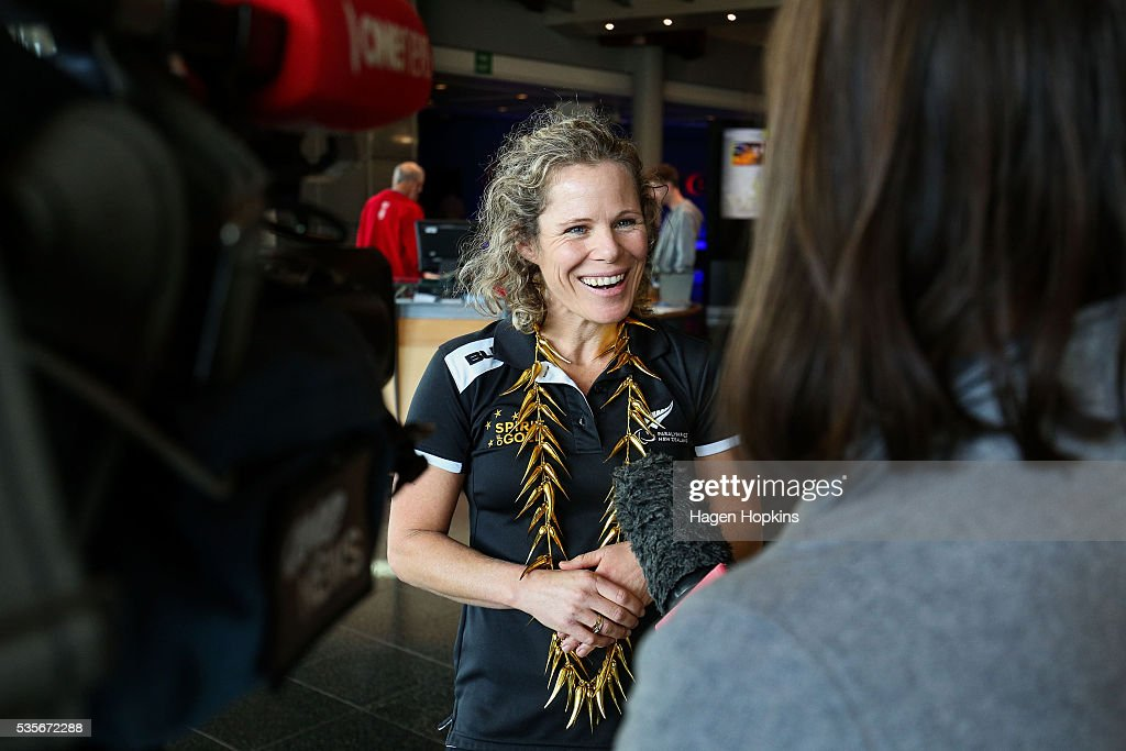 Paralympian Kate Horan speaks to media during Paralympics New Zealand's '100 Days To Go' event at Te Papa Museum on May 30, 2016 in Wellington, New Zealand.