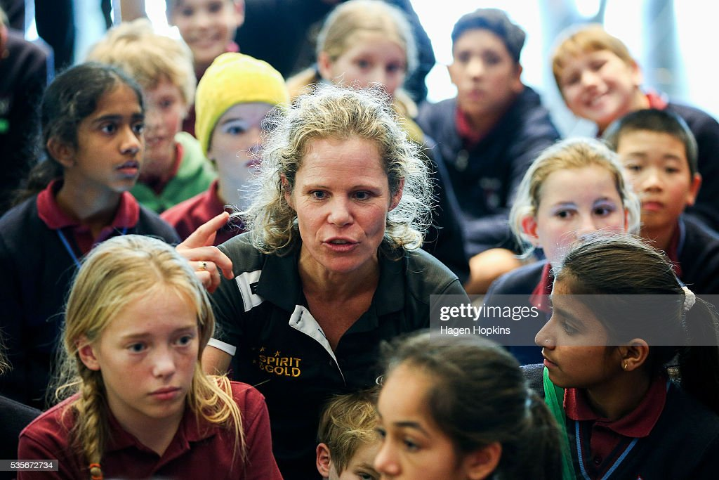 Paralympian Kate Horan speaks to school children during Paralympics New Zealand's '100 Days To Go' event at Te Papa Museum on May 30, 2016 in Wellington, New Zealand.