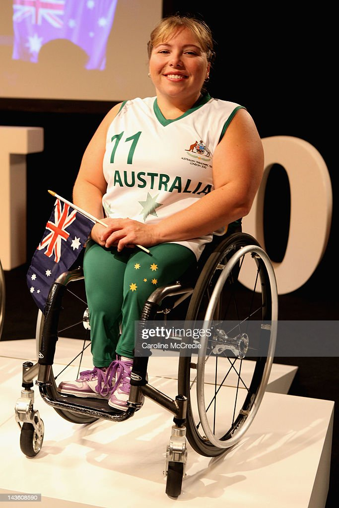Paralympian Kylie Gauci showcases the 2012 Australian Paralympic team uniform on the catwalk on day two of Mercedes-Benz Fashion Week Australia Spring/Summer 2012/13 at Overseas Passenger Terminal on May 1, 2012 in Sydney, Australia.