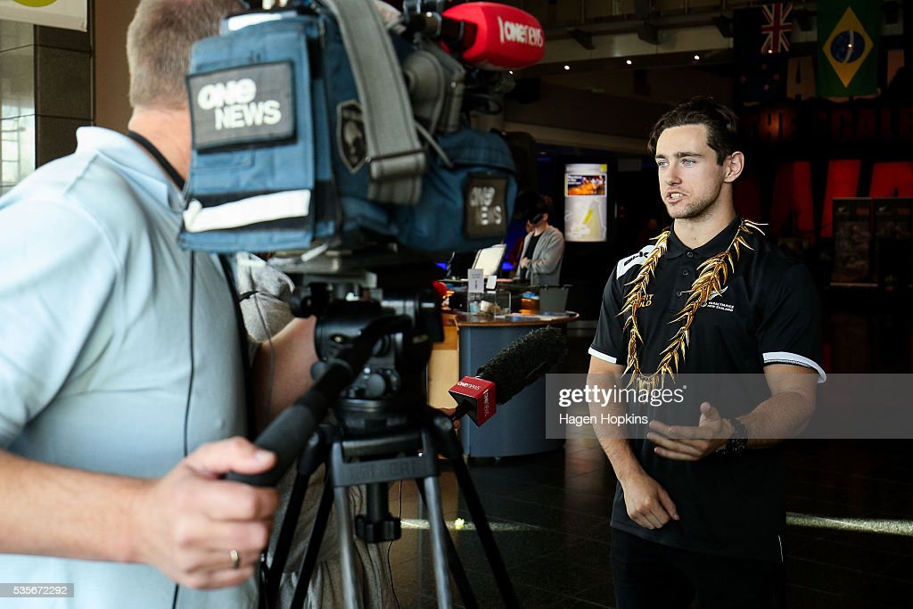 Paralympian Liam Malone speaks to media during Paralympics New Zealand's '100 Days To Go' event at Te Papa Museum on May 30, 2016 in Wellington, New Zealand.