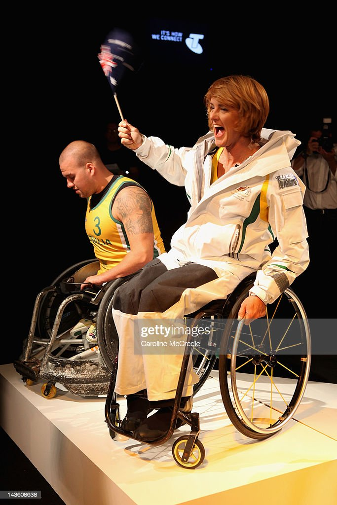 Paralympian Liesl Tesch showcases the 2012 Australian Paralympic team uniform on the catwalk on day two of Mercedes-Benz Fashion Week Australia Spring/Summer 2012/13 at Overseas Passenger Terminal on May 1, 2012 in Sydney, Australia.