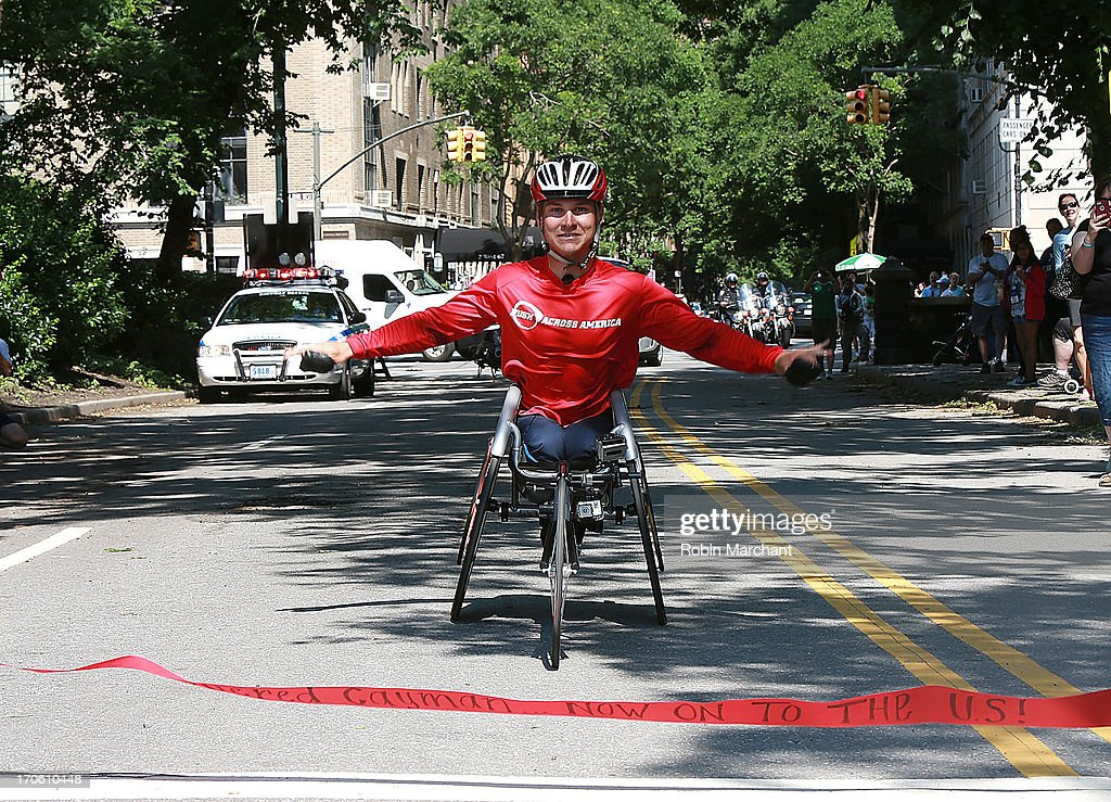 Paralympian Ryan Chalmers completes 3,000 Mile Push Across America Benefitting Disabled Scuba Diving In the Cayman Islands on June 15, 2013 in New York City.