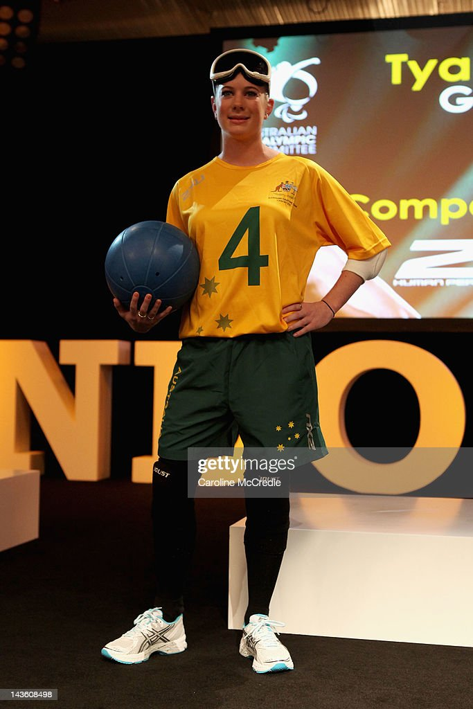Paralympian Tyan Taylor showcases the 2012 Australian Paralympic team uniform on the catwalk on day two of Mercedes-Benz Fashion Week Australia Spring/Summer 2012/13 at Overseas Passenger Terminal on May 1, 2012 in Sydney, Australia.