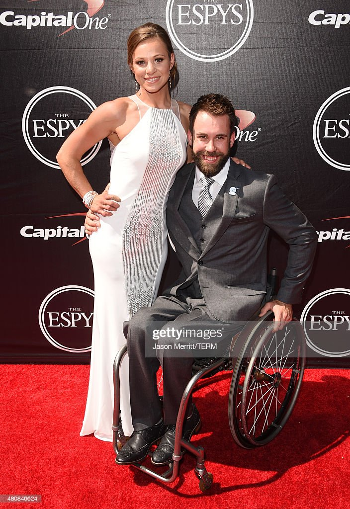Paralympians Oksana Masters and Aaron Pike attends The 2015 ESPYS at Microsoft Theater on July 15, 2015 in Los Angeles, California.
