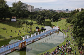 Paralympic athletes compete during the 'Mano a Mano' challenge at the Quinta da Boa Vista on June 5 2016 in Rio de Janeiro Brazil