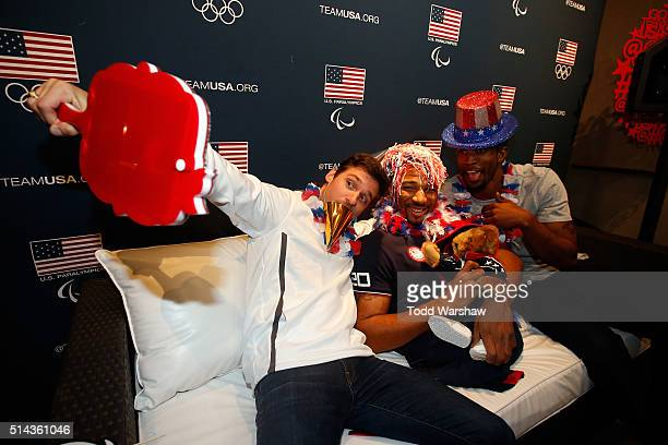 Paralympic athletes Jarryd Wallace Trevon Jenifer and Richard Browne pose for photos at the USOC Olympic Media Summit at The Beverly Hilton Hotel on...