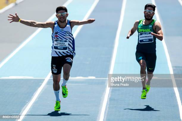 Paralympic athletes Petrucio Ferreira of Brazil and Yohansson Nascimento of Brazil during the Mano a Mano Athletics Challenge at the Brazilian Jockey...