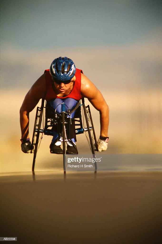 Paralympic male athlete cycling