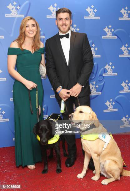 Paralympic silver medalist Libby Clegg MBE and guide dogs Hatti and Almo arriving at The National Lottery Awards 2017 at The London Studios on...