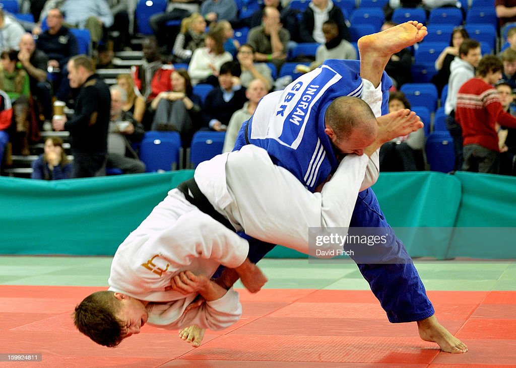 Paralympic silver medallist, Sam Ingram of Edinburgh (blue), here resisting a standing armlock, defeated Frazer Chamberlain of Camberley by ippon from a strangle during their u90kgs pool contest at the British Senior Judo Championships on Sunday, January 20, 2013 at the English Institute of Sport, Sheffield, England, UK.