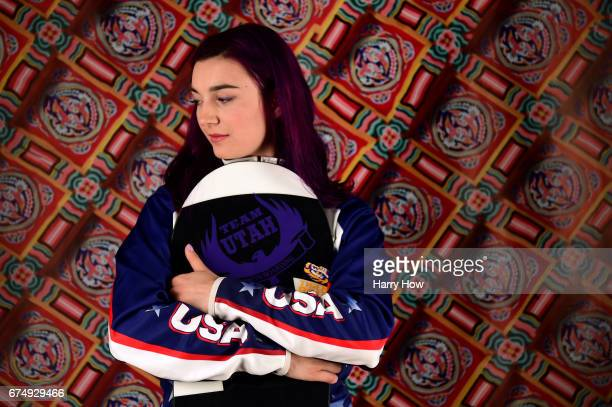 Paralympic snowboarder Brenna Huckaby poses for a portrait during the Team USA PyeongChang 2018 Winter Olympics portraits on April 29 2017 in West...