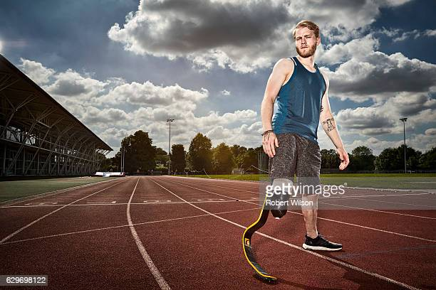 Paralympic sprinter Jonnie Peacock is photographed for the Times on July 18 2016 in Loughborough England