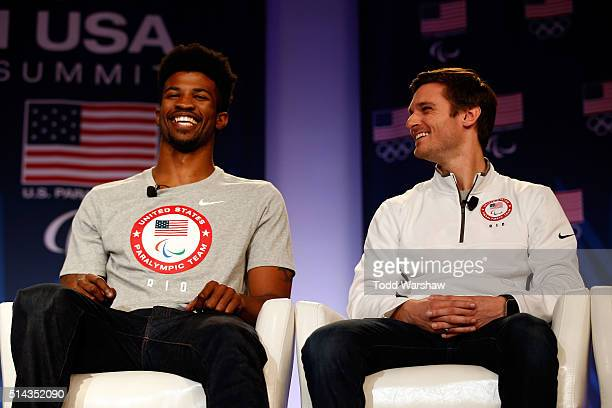 Paralympic sprinters Richard Browne and Jarryd Wallace address the media at the USOC Olympic Media Summit at The Beverly Hilton Hotel on March 8 2016...