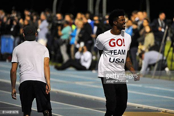 Paralympic Track and Field athletes Jarryd Wallace and Richard Browne demonstrates during the 2016 Team USA Media Summit at UCLA's Drake Field on...