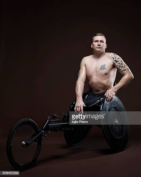 Paralympic wheelchair athlete David Weir is photographed for the Guardian on August 18 2010 in London England