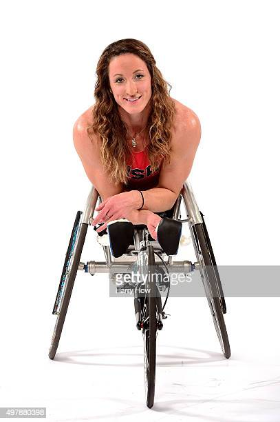 Paralympic wheelchair racer Tatyana McFadden poses for a portrait at the USOC Rio Olympics Shoot at Quixote Studios on November 18 2015 in Los...
