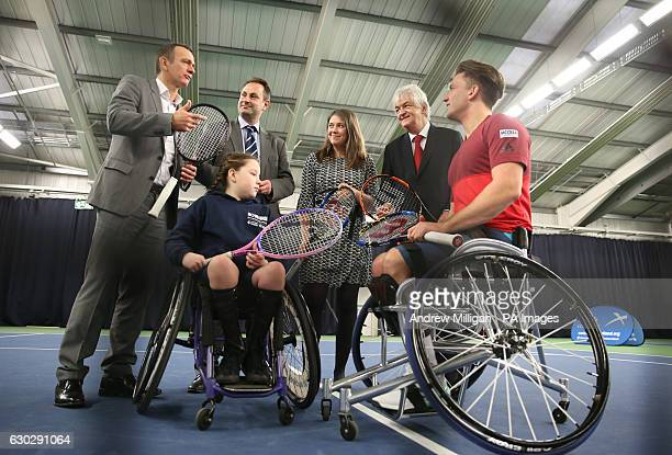 Paralympic Wimbledon Australian Open champion and Wheelchair Singles World Number One Gordon Reid Ellie Robertson with back row Tennis ScotlandÂs...