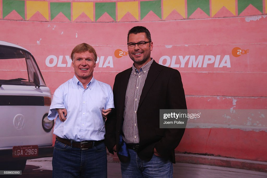 Paralympics expert Matthias Berg (L) and ZDF Paralympics moderator Yorck Polus pose during a photocall prior to the ARD and ZDF Olympics 2016 Press Conference at Empire Riverside Hotel on May 24, 2016 in Hamburg, Germany.