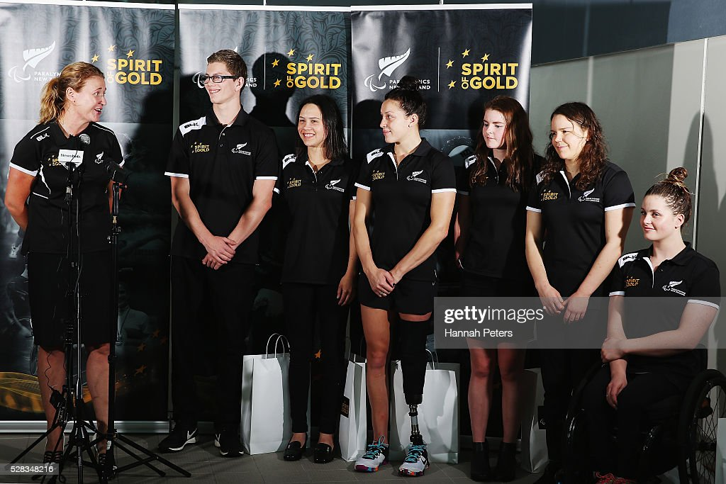 Paralympics New Zealand CEO Fiona Allan announces the New Zealand Para-Swimming team of Jesse Reynolds, Bryall McPherson, <a gi-track='captionPersonalityLinkClicked' href=/galleries/search?phrase=Sophie+Pascoe&family=editorial&specificpeople=5521857 ng-click='$event.stopPropagation()'>Sophie Pascoe</a>, Nikita Howarth, Mary Fisher and Rebecca Dubber at Sir Owen Glenn Aquatic Centre on May 5, 2016 in Auckland, New Zealand.