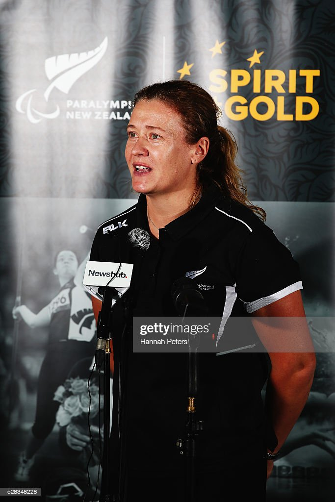 Paralympics New Zealand CEO Fiona Allan announces the New Zealand Para-Swimming team at Sir Owen Glenn Aquatic Centre on May 5, 2016 in Auckland, New Zealand.