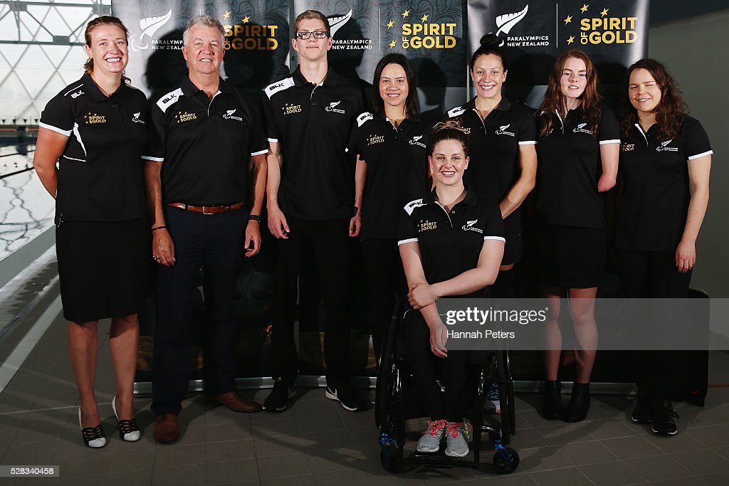 Paralympics New Zealand CEO Fiona Allan, head New Zealand swimming coach Jon Shaw, Jesse Reynolds, Bryall McPherson, <a gi-track='captionPersonalityLinkClicked' href=/galleries/search?phrase=Sophie+Pascoe&family=editorial&specificpeople=5521857 ng-click='$event.stopPropagation()'>Sophie Pascoe</a>, Nikita Howarth, Mary Fisher and Rebecca Dubber pose for a photo after being named during the New Zealand Para-Swimming team announcement at Sir Owen Glenn Aquatic Centre on May 5, 2016 in Auckland, New Zealand.