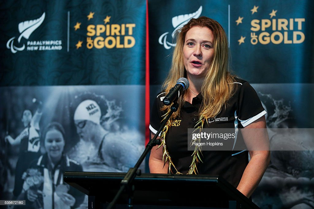 Paralympics NZ Chief Executive Fiona Allanmakes a speech during Paralympics New Zealand's '100 Days To Go' event at Te Papa Museum on May 30, 2016 in Wellington, New Zealand.