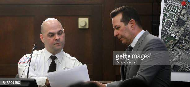 Paramedic David Cioffi is questioned by defense attorney Jose Baez during the double murder trial of former New England Patriots tight end Aaron...