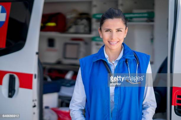 Paramedic working in an ambulance